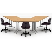 Team Tables Meeting Seminar 3 Piece Combo 10' Angled Conference Table; Natural Beech