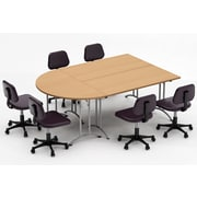 Team Tables Meeting Seminar 3 Piece Combo 7.5' Half-Round Conference Table; Natural Beech