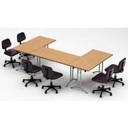 Team Tables Meeting Seminar 3 Piece Combo 10' Rectangular Conference Table; Natural Beech