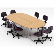 Team Tables Meeting Seminar 4 Piece Combo 10' Oval Conference Table; Natural Beech