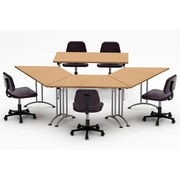 Team Tables Meeting Seminar 4 Piece Combo 10' Angled Conference Table; Natural Beech