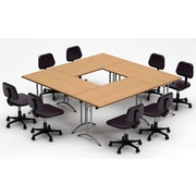 Team Tables Meeting Seminar 4 Piece Combo 7.5' Square Conference Table; Natural Beech