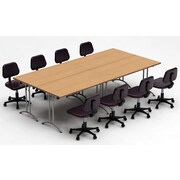 Team Tables Meeting Seminar 4 Piece Combo 10' Rectangular Conference Table; Natural Beech