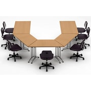 Team Tables Meeting Seminar 5 Piece Combo 10' U-Shape Conference Table; Natural Beech