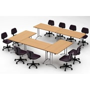 Team Tables Meeting Seminar 5 Piece Combo 10' Rectangular Conference Table; Natural Beech