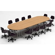 Team Tables Meeting Seminar 6 Piece Combo 15' Oval Conference Table; Natural Beech
