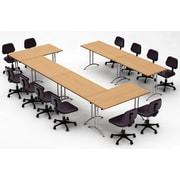 Team Tables Meeting Seminar 6 Piece Combo 15' Rectangular Conference Table; Natural Beech