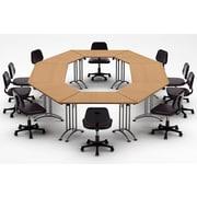 Team Tables Meeting Seminar 8 Piece Combo 15' Circular Conference Table; Natural Beech