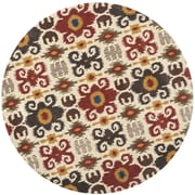 Bloomsbury Market Dorthy Ivory/Red Contemporary Rug; Round 6'