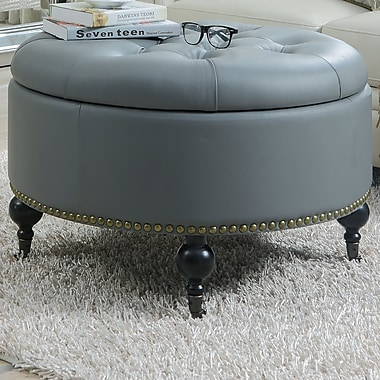 Chic Home Furniture Mona Hidden Storage Leather Ottoman; Gray