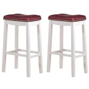 Angel Line Cambridge 29'' Bar Stool (Set of 2); Faux Leather-Dark Red