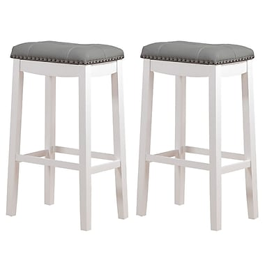 Angel Line Cambridge 29'' Bar Stool w/ Cushion (Set of 2); Faux Leather- Grey