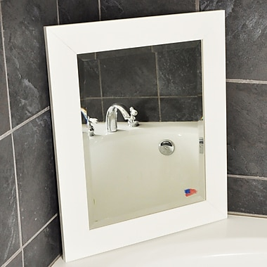 Latitude Run Rectangle White Satin Wide Wall Mirror; 35.5'' H x 29.5'' W x 0.75'' D