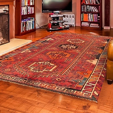 Pasargad Lori Vintage Lamb's Wool Hand-Knotted Red Area Rug