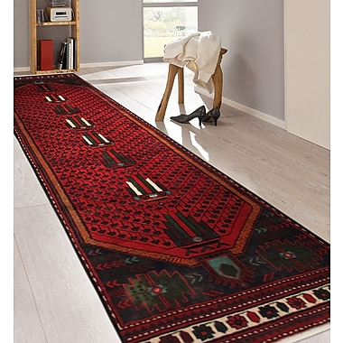 Pasargad Hamadan Vintage Lamb's Wool Hand-Knotted Red/Black Area Rug