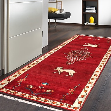 Pasargad Gabbeh Vintage Lamb's Wool Runner Hand-Knotted Red/Black Area Rug