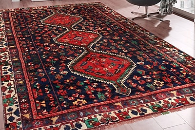 Pasargad Bakhtiari Vintage Hand-Knotted Red/Blue/Green Area Rug