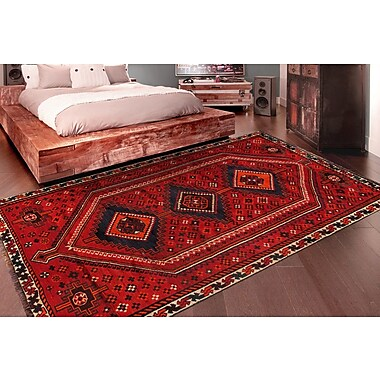 Pasargad Shiraz Vintage Lamb's Wool Hand-Knotted Red/Navy Area Rug