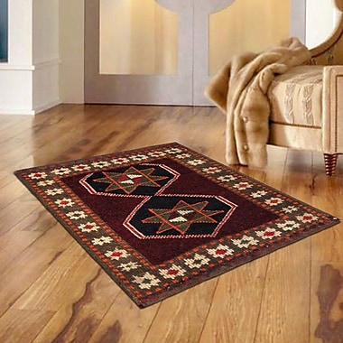 Pasargad Lori Vintage Lamb's Wool Hand-Knotted Red/Black/Ivory Area Rug