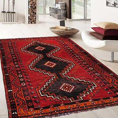 Pasargad Shiraz Vintage Hand-Knotted Red/Black Area Rug