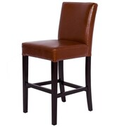 Starfish Microfiber Bar Stool w/ Cushion; Bonded Leather - Hazelnut