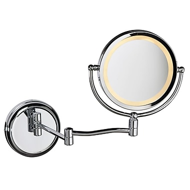 Canora Grey Round Swing Arm LED Magnifier Mirror; Polished Chrome