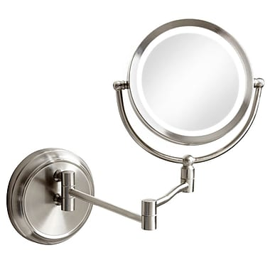 Canora Grey Round Swing Arm LED Magnifier Mirror; Satin Chrome
