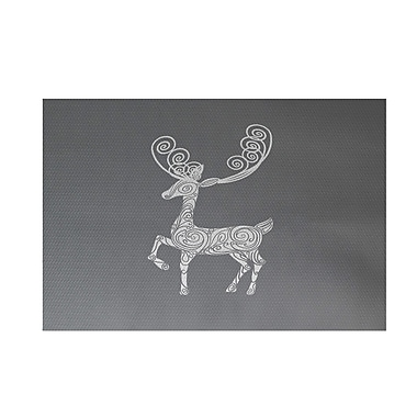 The Holiday Aisle Deer Crossing Decorative Holiday Print Gray Indoor/Outdoor Area Rug; 2' x 3'