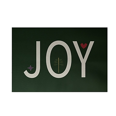 The Holiday Aisle Joy Filled Season Decorative Holiday Word Print Dark Green Indoor/Outdoor Area Rug