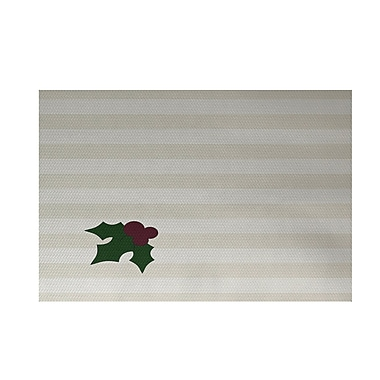 The Holiday Aisle Holly Tones Decorative Holiday Stripe Print Ivory Cream Indoor/Outdoor Area Rug