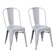 Homebeez Metal Stackable Chic Dining Bistro Cafe Side Chair (Set of 2); Gainsboro
