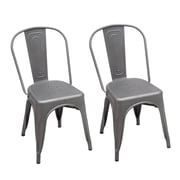 Homebeez Metal Stackable Chic Dining Bistro Cafe Side Chair (Set of 2); Gray