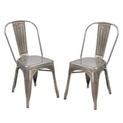 Homebeez Metal Stackable Chic Dining Bistro Cafe Side Chair (Set of 2); Silver Gunmetal