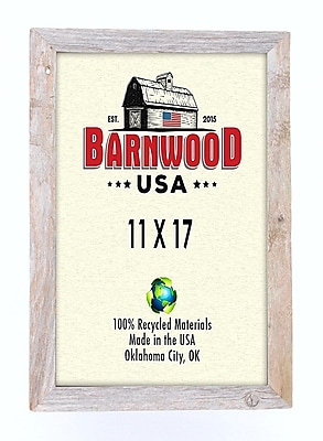 BarnwoodUSA Rustic 100pct Reclaimed Wood Weathered Picture Frame; 11'' x 17''