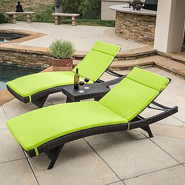 Brayden Studio Ardoin 3 Piece Chaise Lounge Set w/ Cushion; Green
