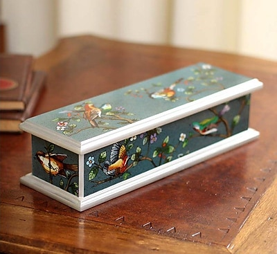 Novica Spring Romance Painted Glass Box WYF078279340092