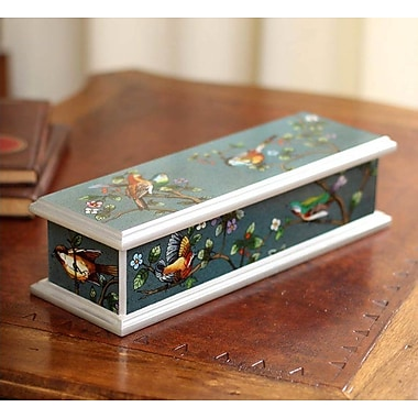 Novica Spring Romance Painted Glass Box