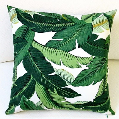 Artisan Pillows Emerald Tropical Palm Leaf Indoor/Outdoor Throw Pillow (Set of 2)