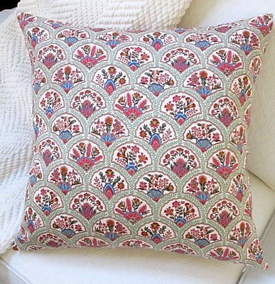 Artisan Pillows Oriental Hand Fan Traditional Cotton Pillow Cover