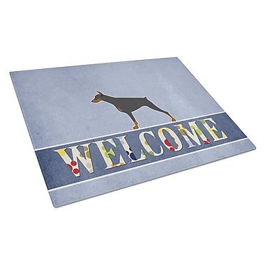 Caroline's Treasures Welcome Dog Glass Doberman Pinscher Cutting Board