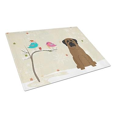 Caroline's Treasures Christmas Presents Glass Bullmastiff Cutting Board
