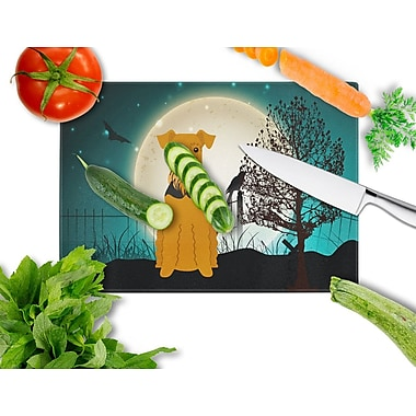 Caroline's Treasures Scary Halloween Glass Airedale Cutting Board