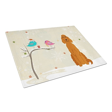 Caroline's Treasures Christmas Presents Glass Irish Setter Cutting Board
