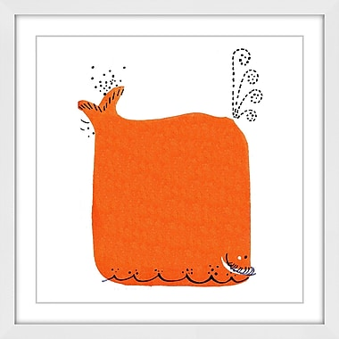 Latitude Run 'Orange Whale' Framed Painting Print; 40'' H x 40'' W x 1.5'' D