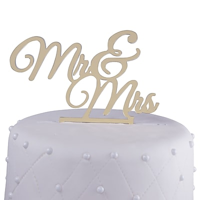 Unik Occasions Mr. & Mrs. Acrylic Wedding Cake Topper; Gold
