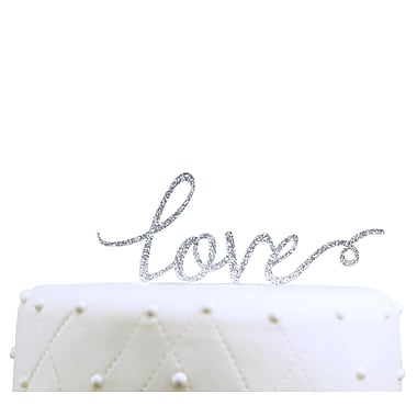 Unik Occasions Love Acrylic Wedding Cake Topper; Silver