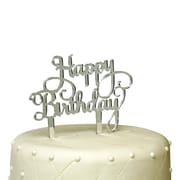 Unik Occasions Happy Birthday Acrylic Cake Topper; Silver