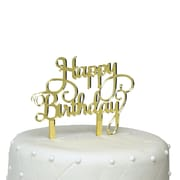 Unik Occasions Happy Birthday Acrylic Cake Topper; Gold