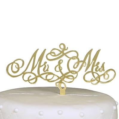 Unik Occasions Mr. & Mrs. Acrylic Cake Topper; Gold