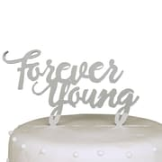Unik Occasions Forever Young Birthday Acrylic Cake Topper; Silver